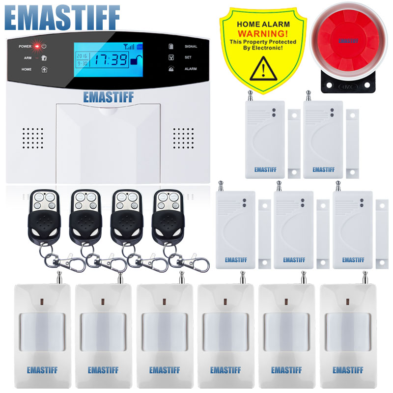 IOS Android APP Wired Wireless Home Security LCD PSTN WIFI GSM Sistema de alarma Intercomunicador Control remoto Sirena automática Kit de sensores