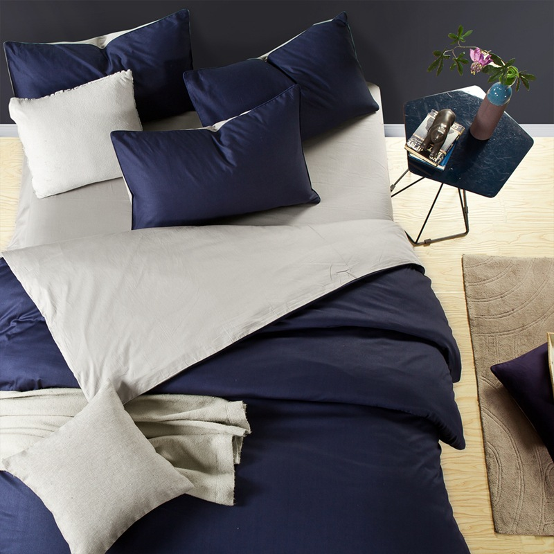 Home textile solid AB side bedding set blue gray 100%cotton queen duvet cover bed sheet pillowcase king brief man Summer bedding