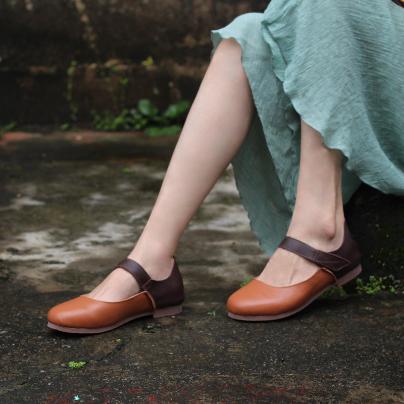 Women Shoes Hook Loop Ballet Flats 100 Genuine Leather Ladies Flat Shoes 2019 Female Ballerina Shoe