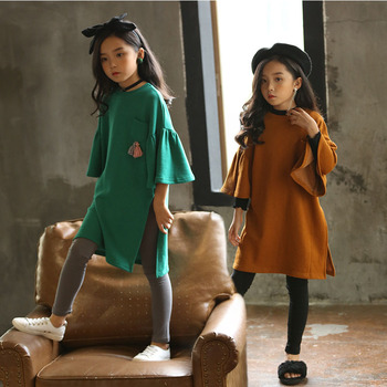 teenage girls long sleeve dresses with pockets autumn spring 2018 brown green long sweatshirts hoodies dress baby girl clothes
