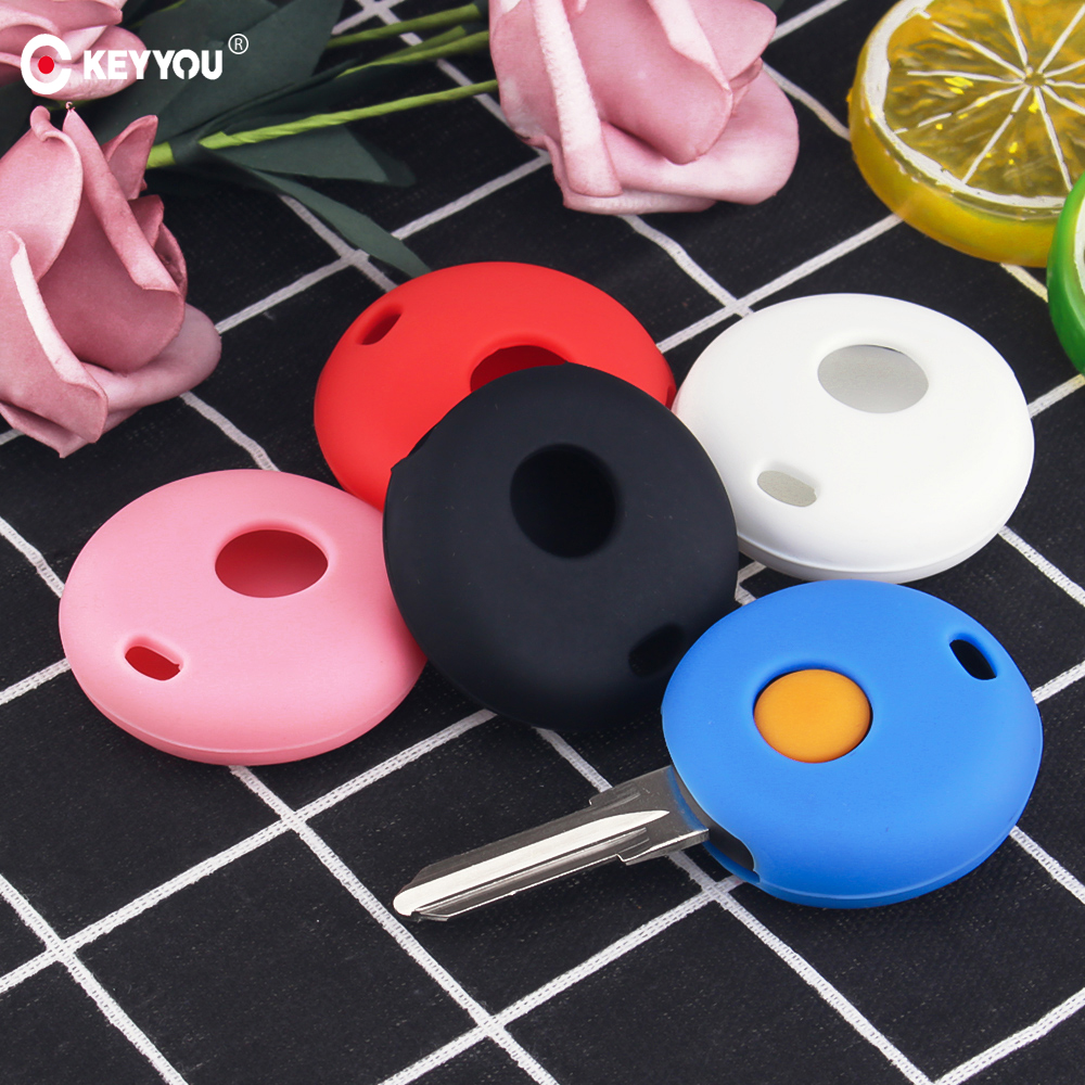KEYYOU Remote Silicone Key Case For Mercedes Benz Smart Fortwo Cabrio City Cross 1 Button Rubber Car Key Case Holder Cover