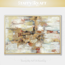 Painter Team Hand-painted High Quality Abstract Light Brown and White Oil Painting on Canvas for Bed Room