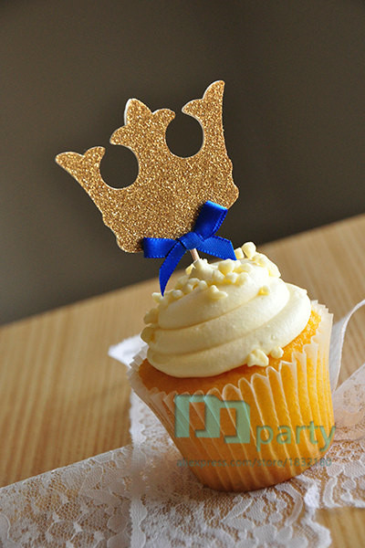 12pcs Handmade Blue Crown Cupcake Toppers,Royal Prince Baby Shower  Decorations,boy Kids Birthday ...