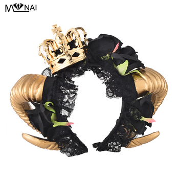 Lolita Ram Horns Headband Cosplay Fantasy Fancy Dress Sheep Goat Animal Black Rose Lace Crown Veil Headpieces Gothic Accessories