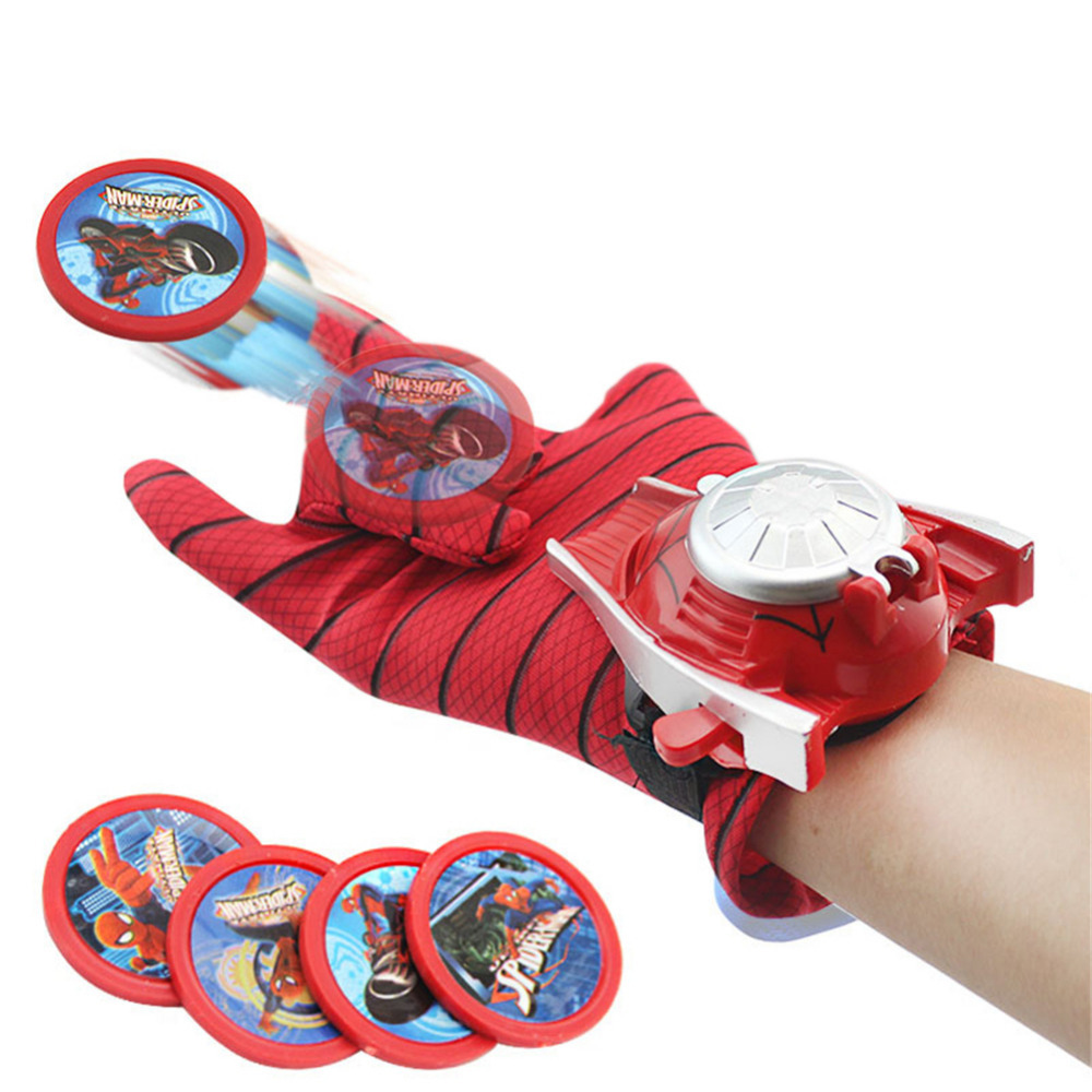 New Arrival 5 Styles Gloves Launcher Action Figure Spiderman Batman Launcher Toy Children Boy Cartoon Puzzle Toy 2018 new 5 styles pvc 24cm batman glove action figure spiderman launcher toy kids suitable spider man cosplay toys free shipping