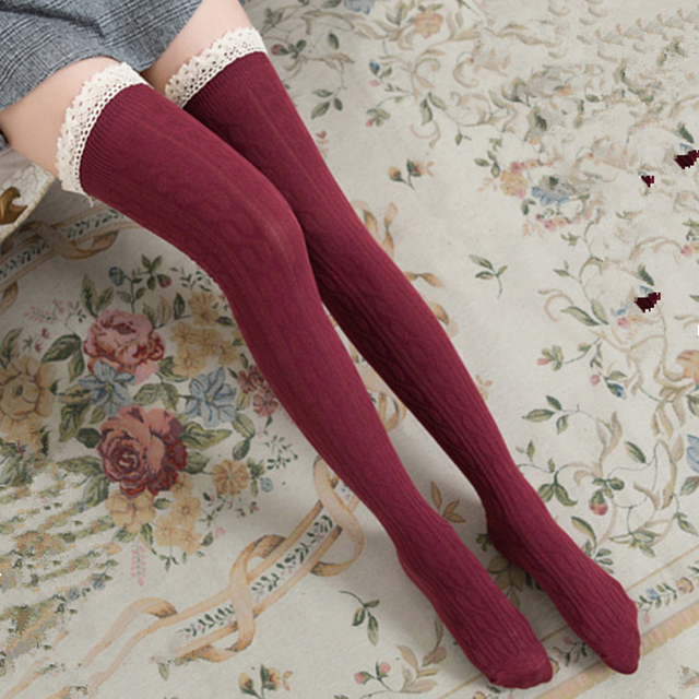 fc8ad7c0e Fashion Sexy Warm Long Cotton Stocking Over Knee Lace Stocking Women Winter  Knee High Thigh Knitted Stockings 8C1271