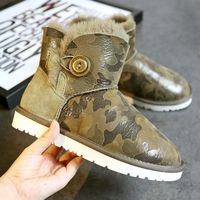 High Quality Winter Snow Boots New 100 Natural Sheep Fur Boots Boots Camouflage Green Free Shipping