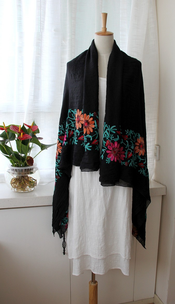 Long Embroidered Cotton/Linen Scarf