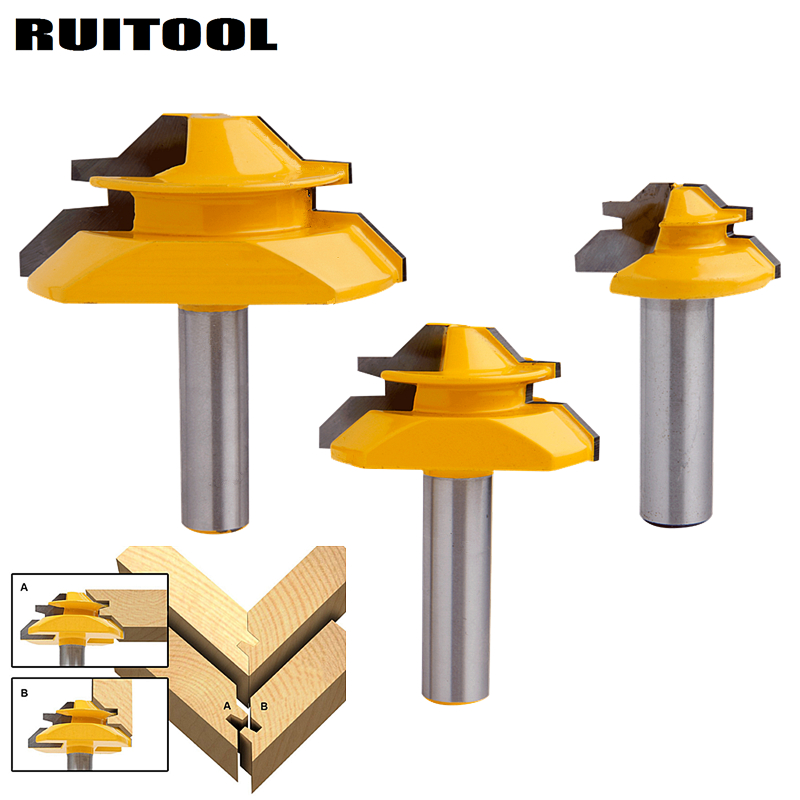 1pc Tenon Cutter 45 Degree Router Bit Milling Cutters 1/2'' Shank Lock Miter Wood Cutter For MDF Wood Plywood Woodworking Tools 1 2 shank router bit milling cutters for doors woodworking tool trimming flooring wood tools