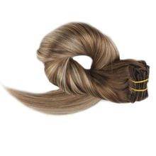 Full Shine Brown Roots Color Clip in Hair Extensions Double Weft 10 Pcs 100g Per Package Head 100% Remy Human Ins
