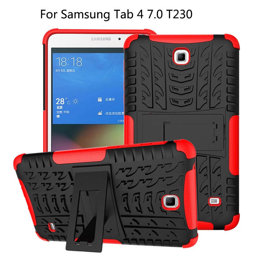 For Samsung Galaxy Tab 4 7.0 T230 T231 Tablet Case Cover Funda Heavy Duty Defender Rugged TPU+PC Armor Dazzle KickStand Cases tire style tough rugged dual layer hybrid hard kickstand duty armor case for samsung galaxy tab a 10 1 2016 t580 tablet cover