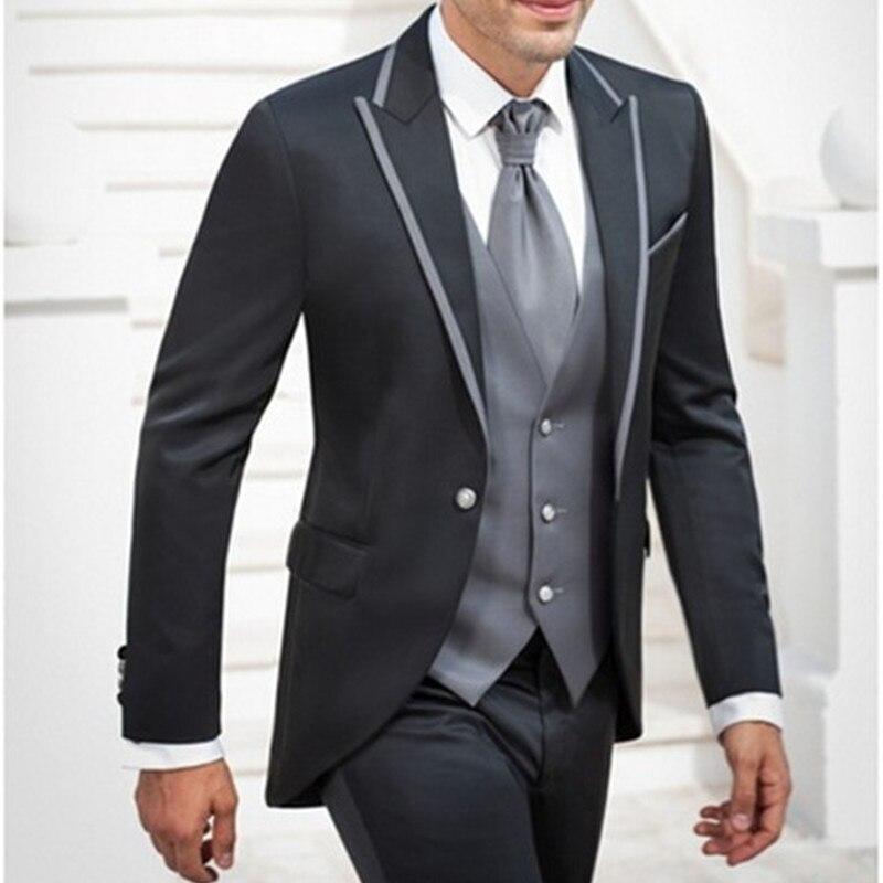 Fashion Men Suits 2017 Popular Groomsmen Men's Wedding Tuxedos Prom Suit Business Men Office Wear (Jacket+Pants+Vest+Tie)