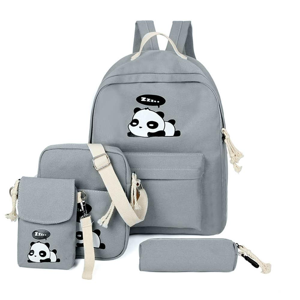 4pcs/Set Cute Girls Backpacks Shoulder Clutch Schoolbags Women Canvas Cartoon Composite Bags Student Travel Totes Rucksack Bols