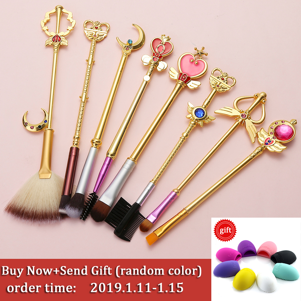 New Cardcaptor Sakura 7pcs Makeup Brush Set Solid Metal Magic Wand Sailor Moon Blending Eyeshadow Teen Girl Gift Brush Kit Eye Shadow Applicator