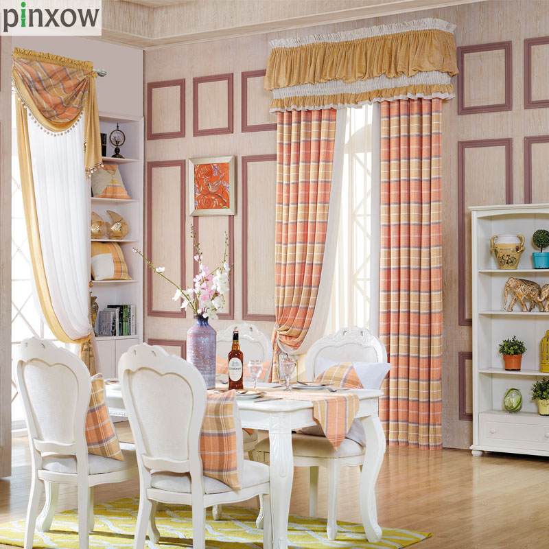 Luxury Chenille Curtains For Living Room Orange Plaid Drapes For Bedroom  Dinning Room Window Scotland Thicked Soft Blind Custom