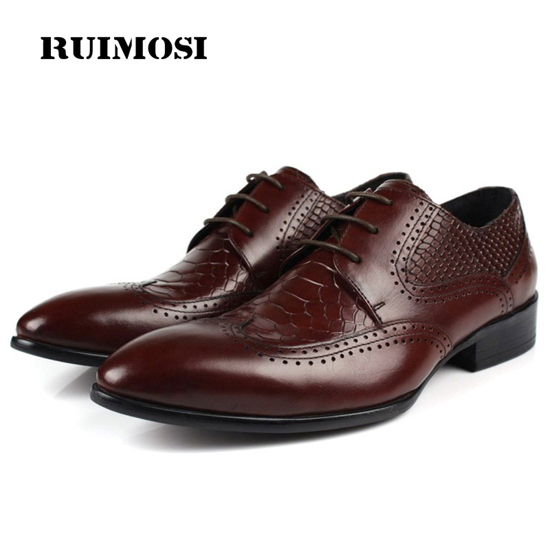 RUIMOSI Pointed Crocodile Luxury Brand Man Formal Dress Shoes Genuine Leather Brogue Oxfords Men's Wing Tip Wedding Flats JD93