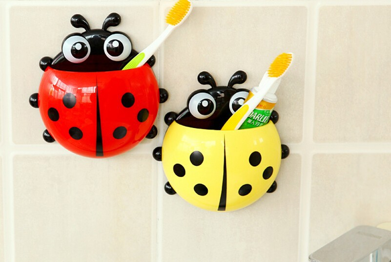 2017 New Ladybug <font><b>Toothbrush</b></font> <font><b>Holder</b></font> Container Rack With Suction <font><b>Cups</b></font> <font><b>Bathroom</b></font> Home <font><b>Decor</b></font> storage box