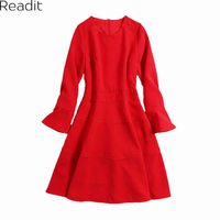 Readit Vintage Ruffled Dress Pleated Design Women Long Sleeve Female Retro Fashion Autumn Ladies Office Wear