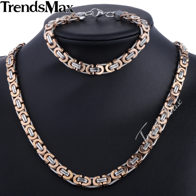 Trendsmax Brand Jewelry Set 9mm Silver Rose Gold Men Chain Stainless