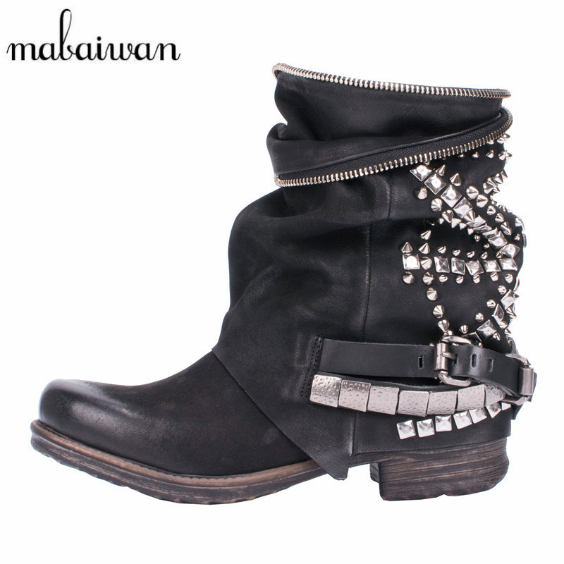 Mabaiwan Retro Genuine Leather Rivets Studded Women Ankle Boots Black Autumn Martin Boots Platform Rubber Flat Ladies Shoes mabaiwan retro brown ankle boots for women metal decor autumn winter botas mujer genuine leather platform rubber shoes woman