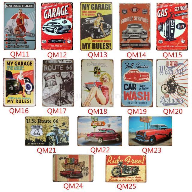 AUTO CAR THEME Retro Metal Tin Sign Plaque Vintage Wall Picture Bar Pub Man Cave