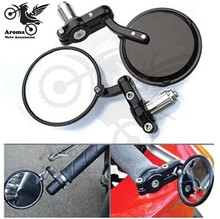 black round motorcycle side mirror 22mm motorbike handle bar end mirrors motocross ATV Off-road moto parts dirt pit bike scooter