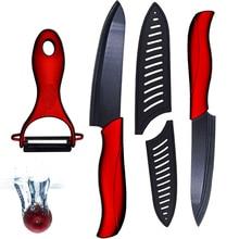Neue Keramik messerset 5 zoll fleischmesser 6 zoll chef messer und eine hohe qualität schwarz balde + rot griff schäler küchenmesser set