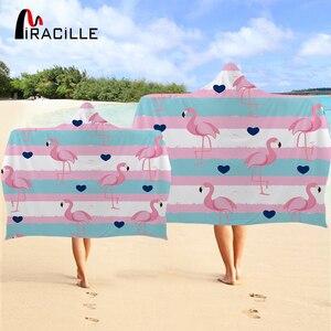 Elegante vestido con flamenco de miragille, toalla a rayas para adultos con capucha, tamaño grande, gruesa para tomar el sol Toalla de playa, microfibra