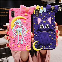For iphone XS Cute Sailor Moon Lovely Silicone Back Case cove For iPhone 8plus 6 6S 6Splus 7 7plus 8 X Luna Cat girls pink case(China)