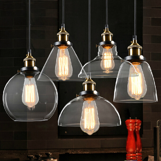 Retro lamps glass pendant lamps vintage hanging light American Loft style bar restaurants lighting fixture