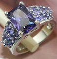 Free Shipping 1 pc 925 Sterling Silver purple CZ Cubic Zirconia Stone woman jewelry wedding ring size 8
