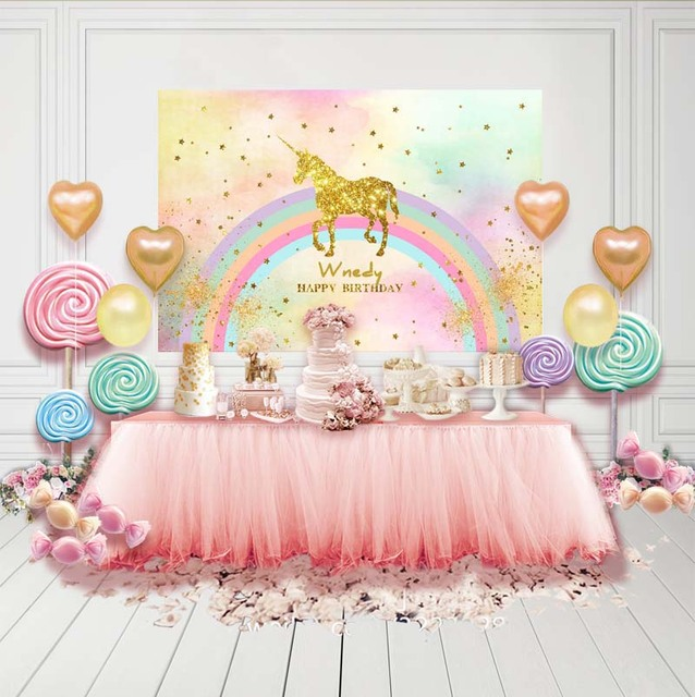 Photography Backdrops Customized Children Birthday Party Stage curtain Backdrops for Photography Studio Unicorn Background G-138