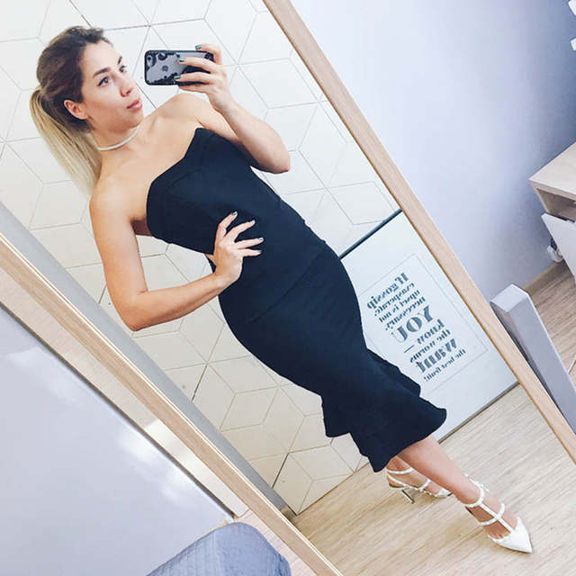 501b133b9c Tanpell strapless cocktail dress black sleeveless knee length mermaid gown  women hourglass party formal short cocktail