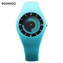 Creative femmes sport quartz montres robe de mode dames en caoutchouc bande montres BOAMIGO femmes de rouge bleu montres horloge reloj