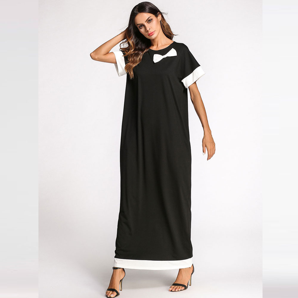 2019 Summer Bow Patch Designs Muslim Cardigan Abaya Islamic Maxi Oversized Dress Middle East Kaftan Turkish Robe Kimono VKDR1137