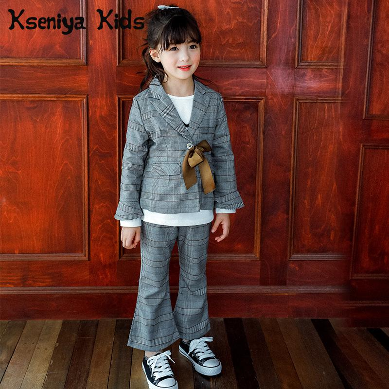 Kseniya Kids 018 Spring New Korean Gray Pattern Children's Leisure Suit Two Pieces Girls Clothing Brand 2 Piece Set Girl Clothes бусина коралл красный шарик 3 5 4 мм 1 шт