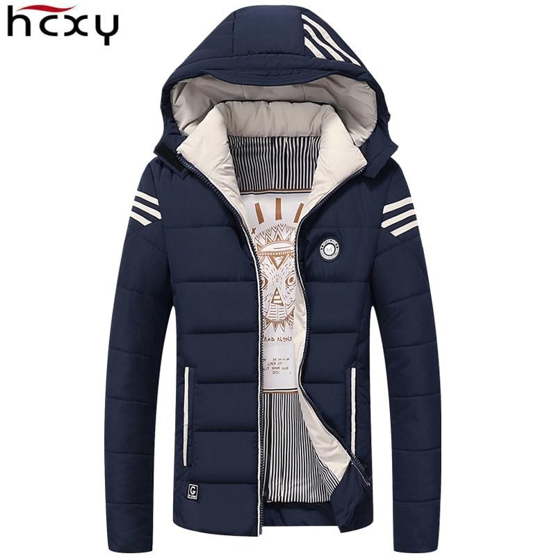 HCXY мужская зимняя куртка 2017 брендовая Повседневная Мужская s куртки и пальто толстая теплая куртка Мужская парка верхняя одежда пальто плюс...