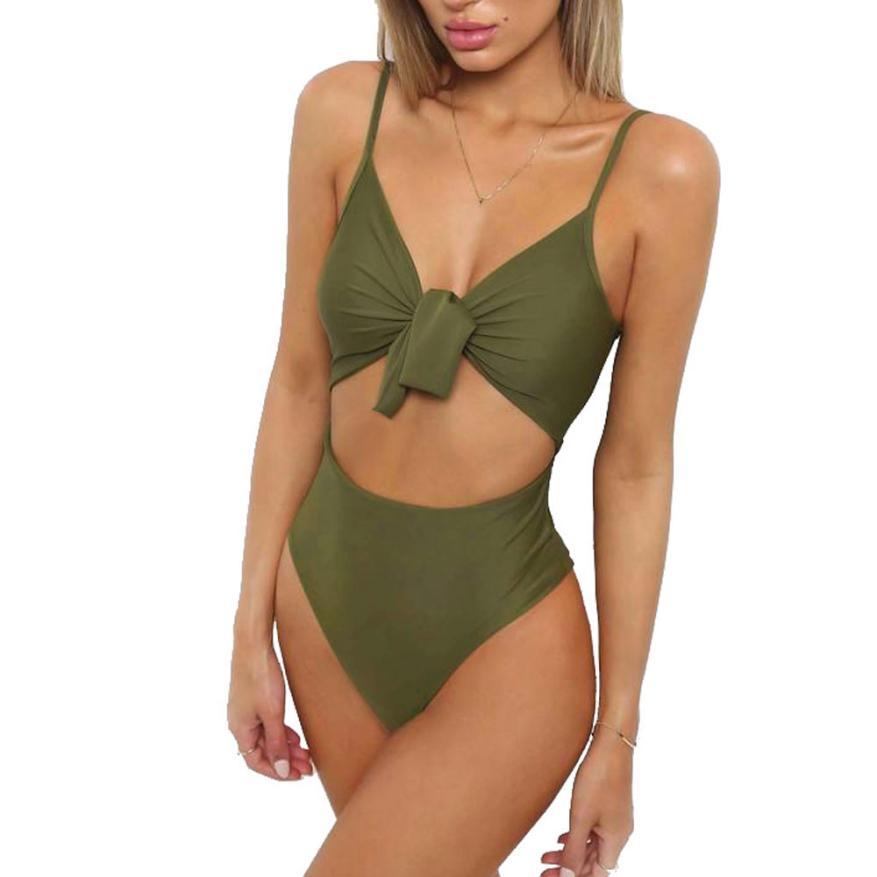 snowshine3 YLI Women Hollow Out Jumpsuit Push-Up Padded Bra Beach Bikini One Piece Swimwear free shipping