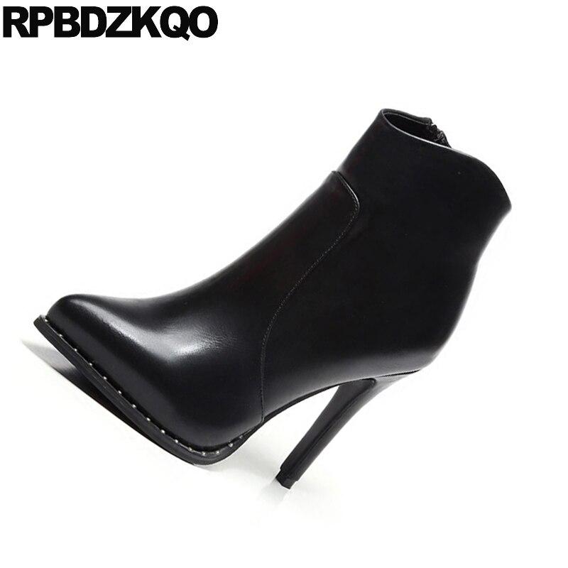 Chaussures forme Zip D'hiver Stiletto Fourrure Pointu Plate Sexy Bout De Zipper rouge Femmes Bottes Élégant Européenne Haut Côté Talon Mode Noir Bottines xa8zqBdYwY