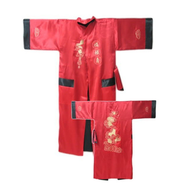 Красный Черный Реверсивные Китайских людей Сатин Двуликий Одеяние Вышивка Кимоно Ванна Платье Дракон Один Размер S3004