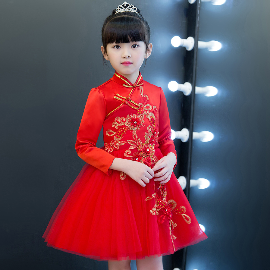 2017 Autumn Winter New Arrival Warm Children Girls Party Princess Mesh Dress Chinese Retro Red Color embroidery Flowers Dresses bruder пикап ram 2500