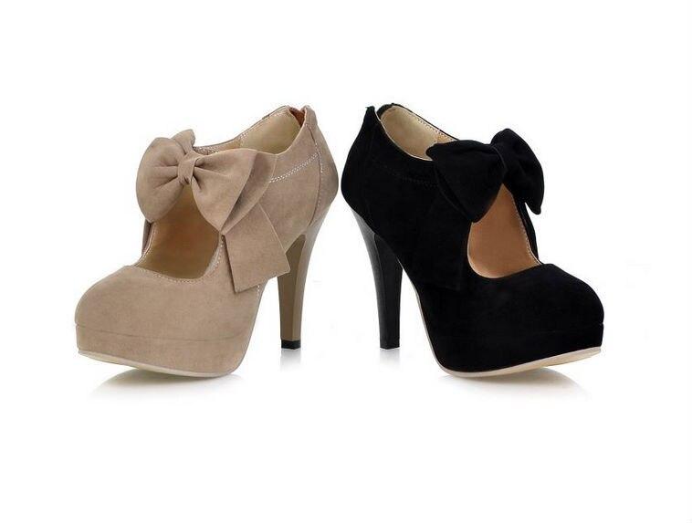 Women pumps Bow Round toe Thick Heels Platform High heels