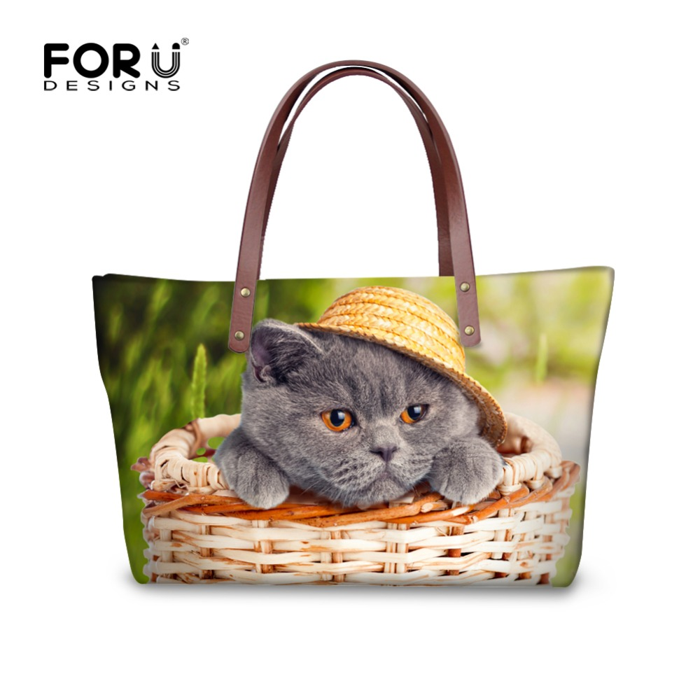 FORUDESIGNS Women Tote Bag Cute Dog Cat Print Casual Ladies Large Capacity Top-Handle Bag Zipper Girl Soft Shoulder Bags Bolsas forudesigns vintage black pet dog printed women large handbags fashion ladies top handle bag girls shoulder female big tote bag