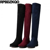 Shoes Cheap Long Navy Blue Chunky High Heel Thigh Boots For Plus Size Women Slim Over