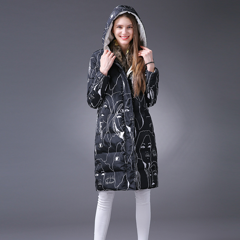 ФОТО Thickening plus size winter cotton padded coat women loose version fashion print hooded jacket manteau femme women's parka MF6