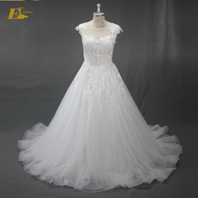 Factory Price A Line Wedding Dress 2017 Scoop Cap Sleeve Types Lace Sequin Tulle Vestido