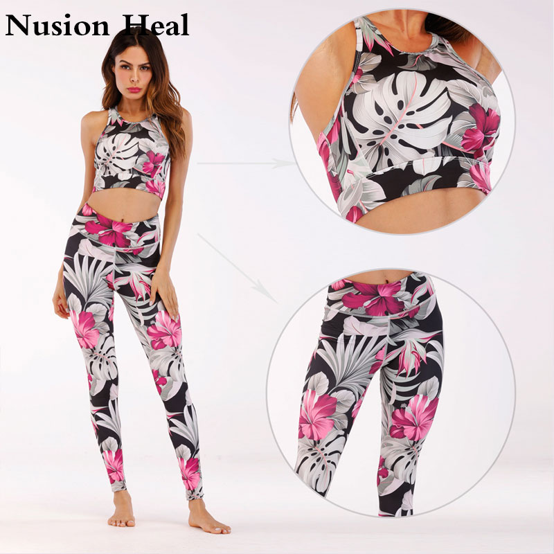 Sexy High Waist Yoga Leggings Pants + Sports Bra Tops For Women Yoga Bra Workout Gym Fitness Leggings Pants Running Tight Sports