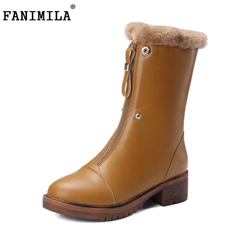 FANIMILA Women Real Leather Mid Calf Winter Snow Boots Women Zipper Med Heel Shoes Women Thick Fur Inside Warm Botas Size 34-39 double buckle cross straps mid calf boots