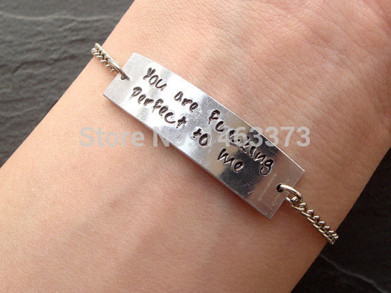 Customized Uni Quote Bracelet Hand Stamped Single Personalized Jewelry Anniversary Birthday Couples Friendship Gift In Id Bracelets From