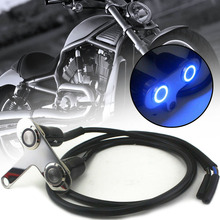 1PC 12V Motorcycle Handlebar Headlight Fog Light Switch On Off CNC Aluminum Alloy Waterproof Button With Blue Indicator